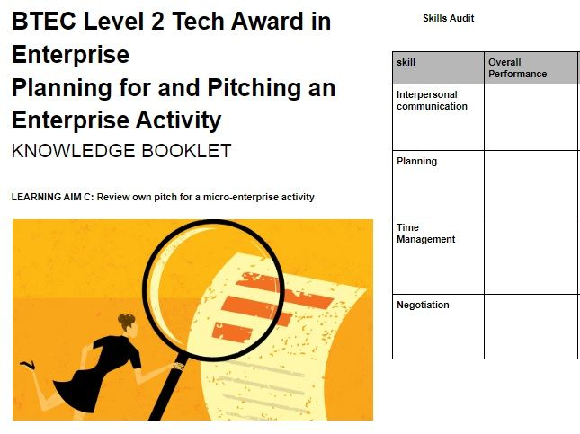 BTEC LEVEL 2 TECH AWARD ENTERPRISE Component 2 Assignment 3 Student Workbook (Learning Aim C)