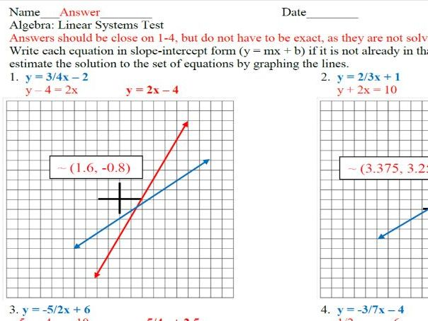 Solve systems of equations practice or assessment
