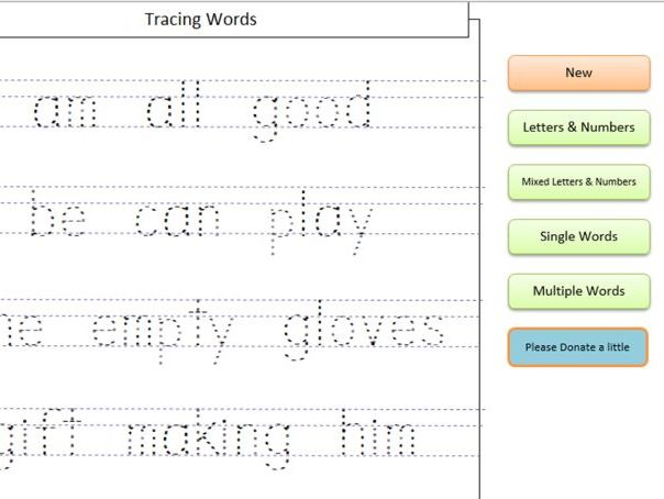 Guided Writing (Tracing letters, numbers and word) Software