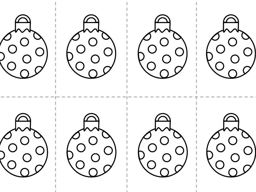 Cut out and colour Christmas Bauble Decorations
