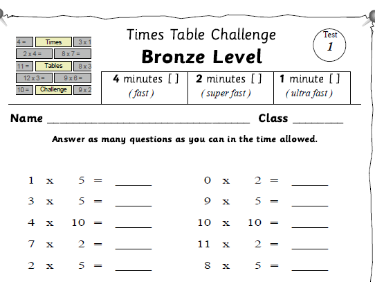 Times Tables Challenge Scheme -3 main levels
