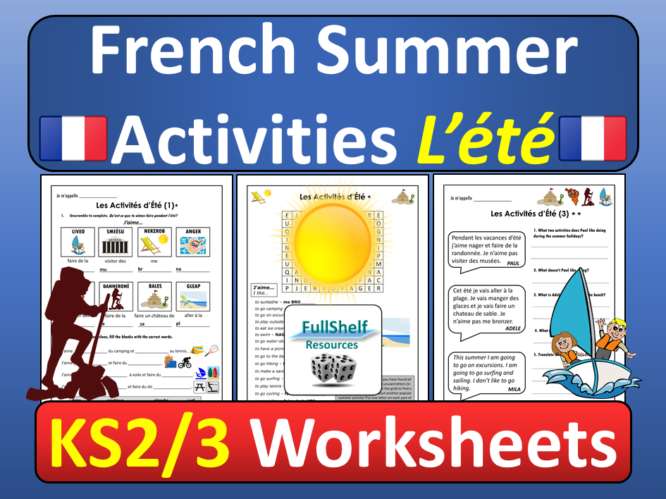 French Summer Activities Worksheets