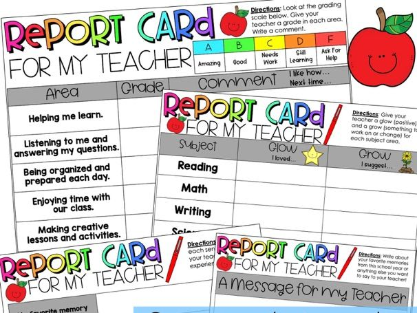 Teacher Report Card from Students