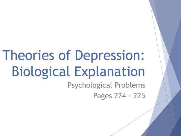 AQA GCSE Psychology - Lesson 4 - Psychological Problems - Biological Theories of Depression