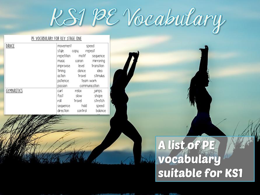 PE Vocabulary Grid for KS1
