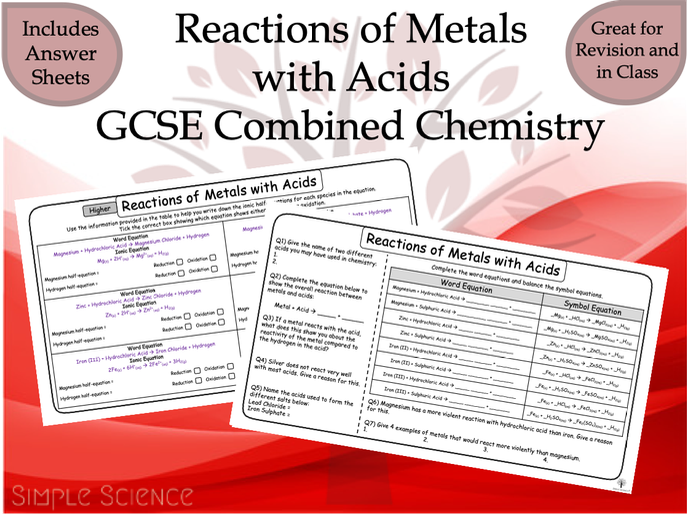 GCSE Chemistry - Reactions of Metals with Acids Worksheets