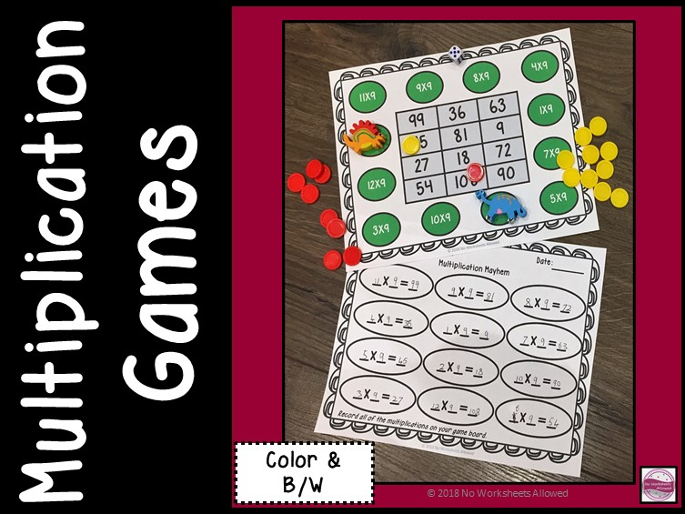 Multiplication Game/Times Tables Activity to 12x12
