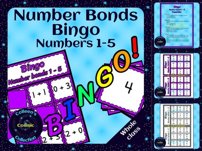 Number Bonds Bingo for numbers 1-5 for Your Whole Class