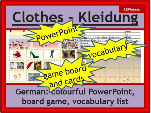 German clothes, die Kleidung: dice activity - describing pictures, speaking practice