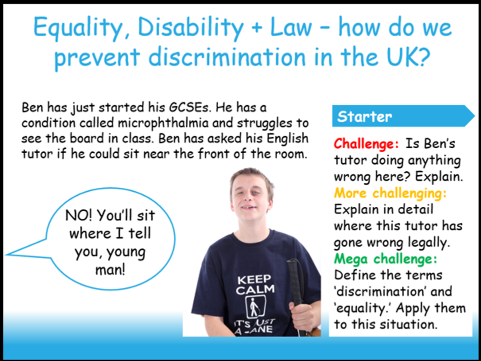 Equality, Disability + Law (MACS Charity Lesson)
