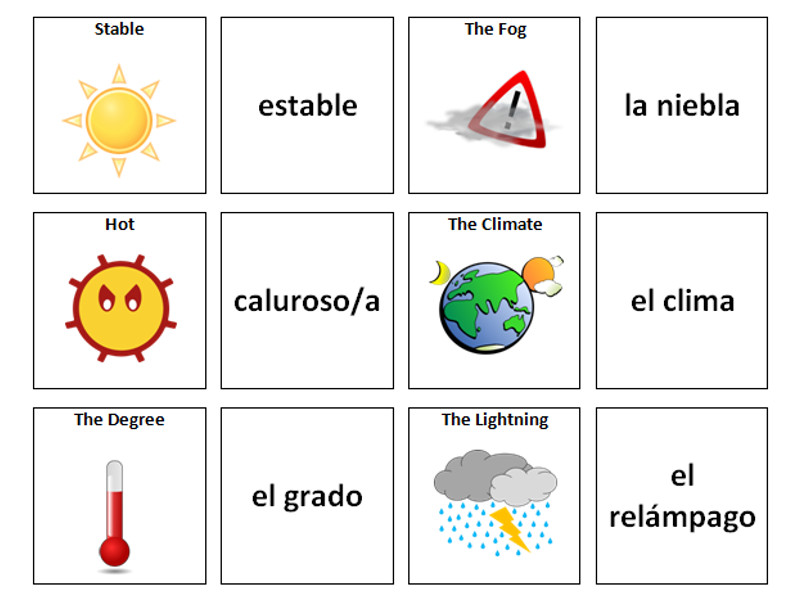 weather  spanish vocabulary card sort by ineedtoteachthat