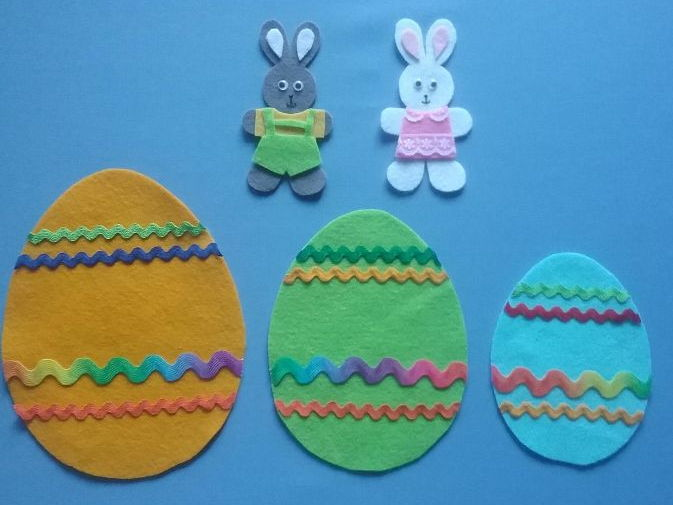 Little Bunny Hide and Seek Sizes Game Felt Board Set Digital Pattern