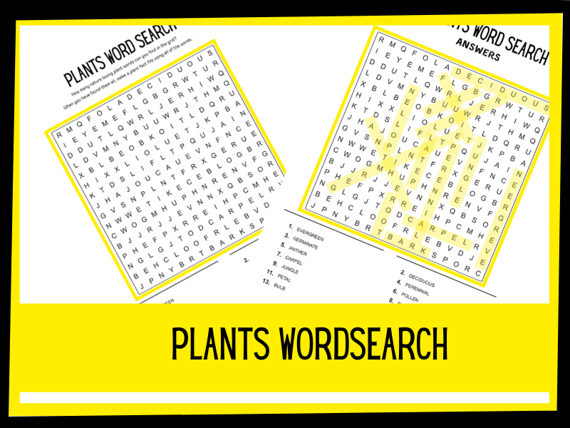 Plants wordsearch KS1 KS2
