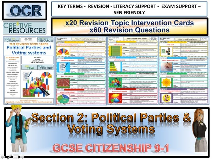 Citizenship GCSE Revision Cards - Political Parties and Voting systems OCR