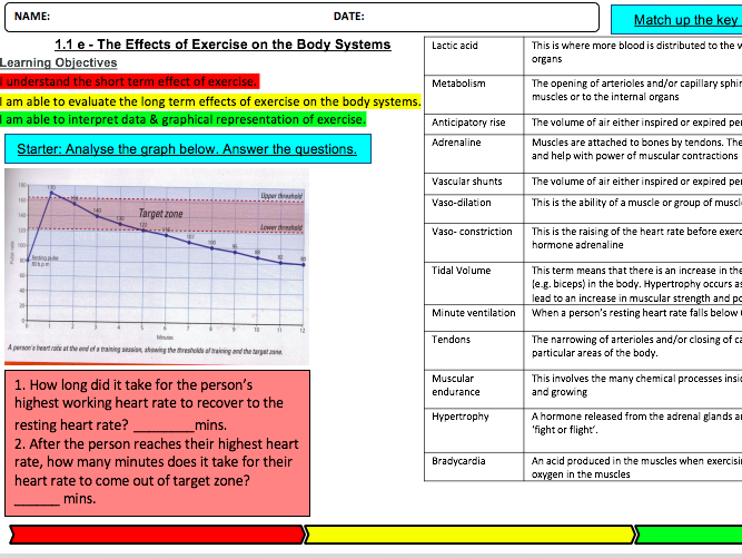 Effects of Exercise on the Body Systems Learning Mat & Homework 1.1e: OCR GCSE PE (2016)