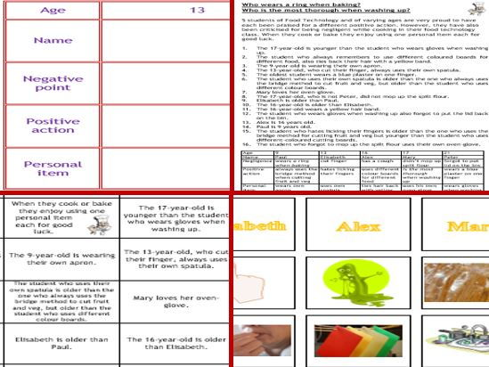 Food Tech Fun: Colourful thinking Skills Puzzle on Hygiene and Safety