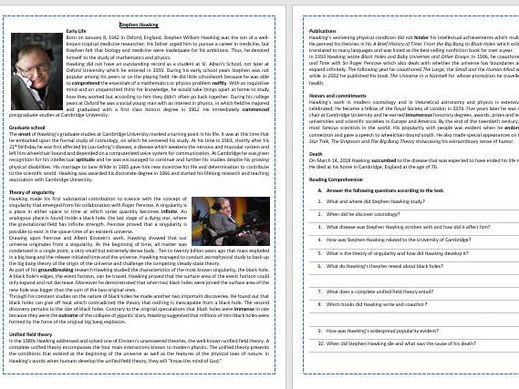 The life and work of Stephen Hawking - Reading Comprehension and Vocabulary Worksheet