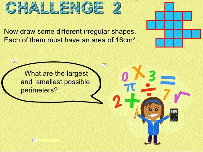 Area and perimeter of 2D shapes