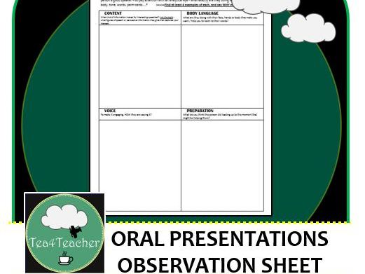 Oral Presentation Skills Observation Sheet