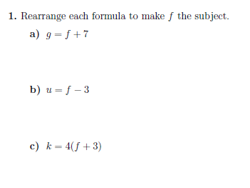 Rearranging formulae (introductory) worksheet (with solutions)