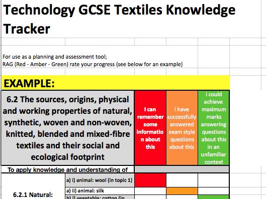 Edexcel GCSE DT 9-1 Tracker: Textiles Specialist Knowledge