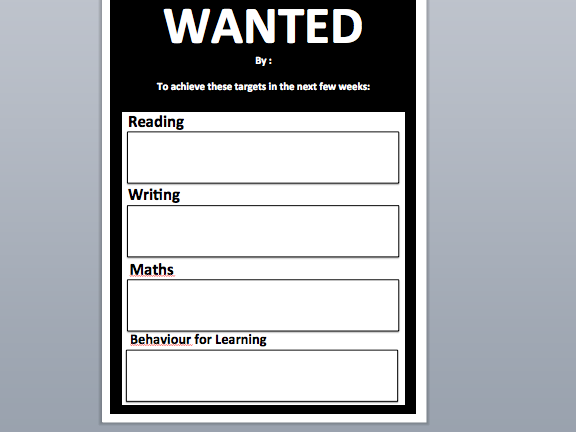 WANTED - target poster - Reading, Writing, Maths, BfL