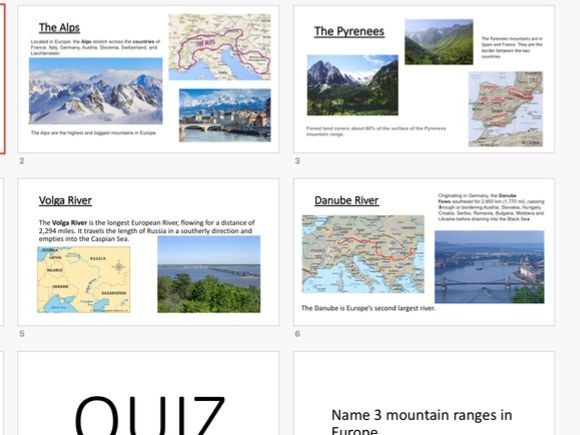 Europe's rivers and mountains PowerPoint and Quiz