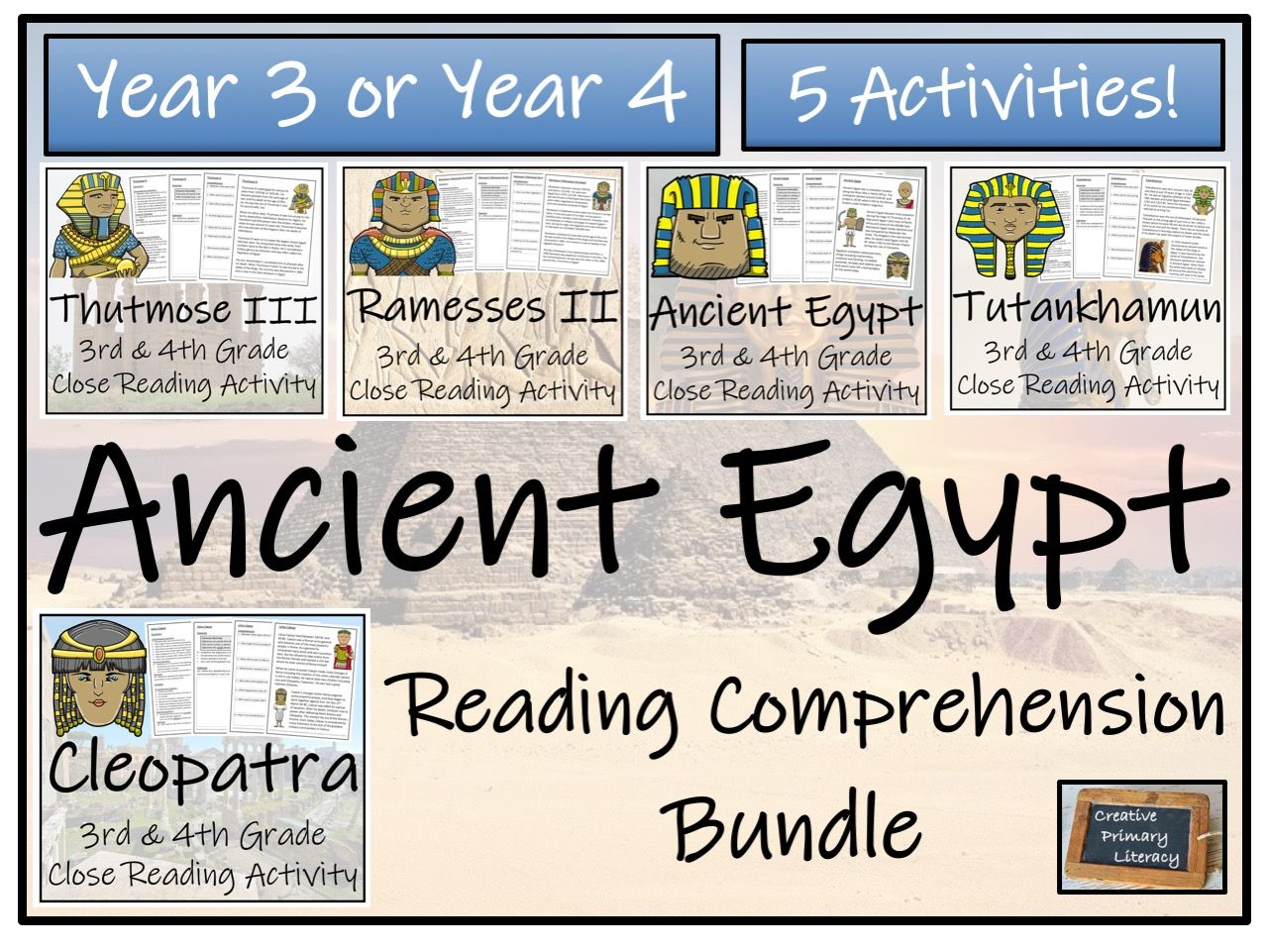 LKS2 Ancient Egypt Bundle of Five Reading Comprehension Activities