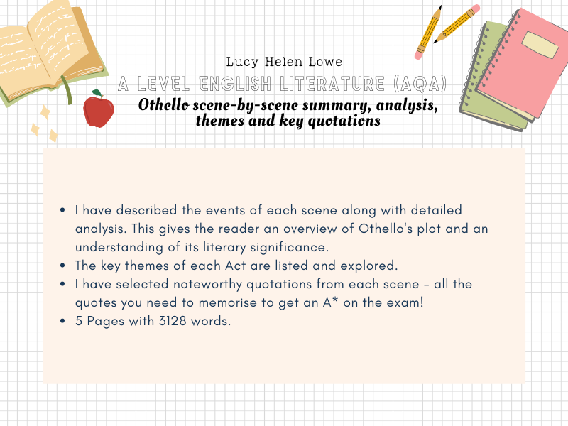 English Literature A Level AQA Othello Scene-by-Scene Plot Summary, Analysis, Quotes and Key Themes