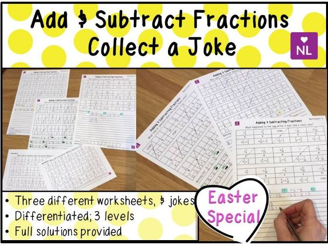 Adding Fractions Collect a Joke Worksheets (Easter)