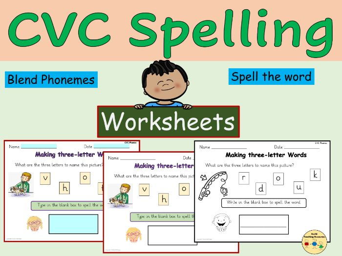 CVC Words Spelling Phonics Worksheets