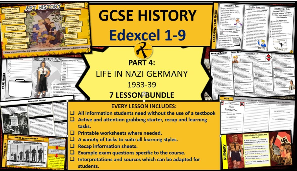 GCSE History Edexcel 1-9 Weimar Nazi Germany Bundle Part 4 Life in Nazi Germany