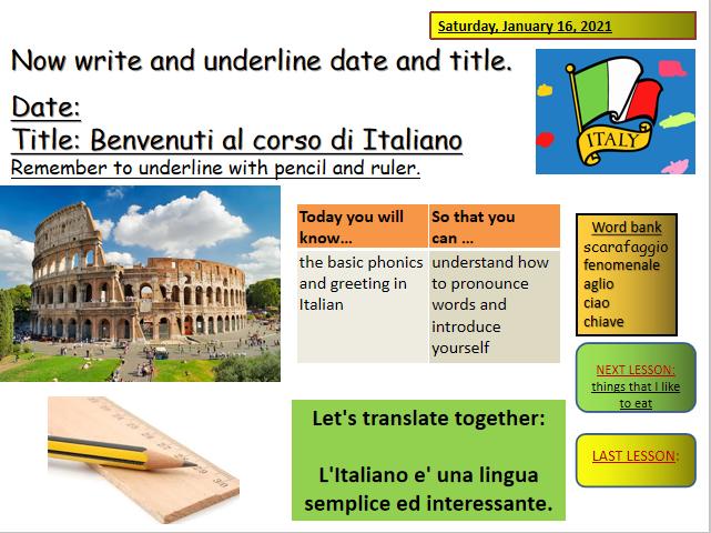 Italian phonics and greetings