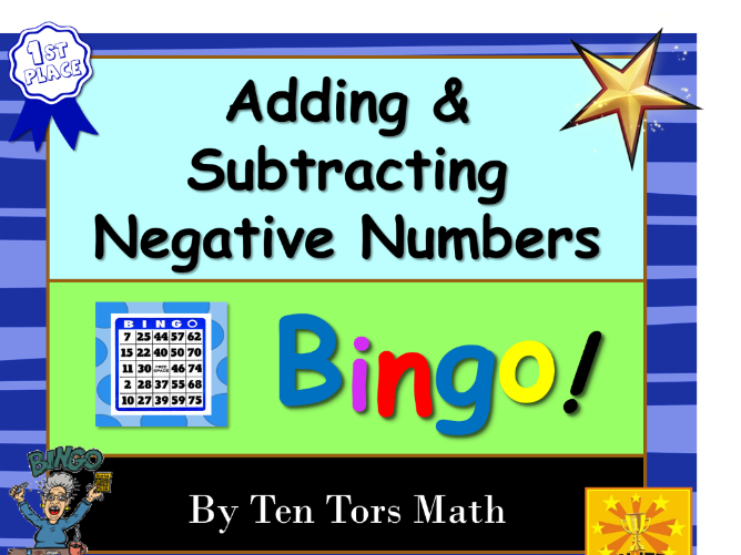 Negative Numbers Bingo game