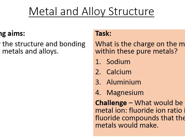 AQA C3.9 Bonding in Metals and Alloys