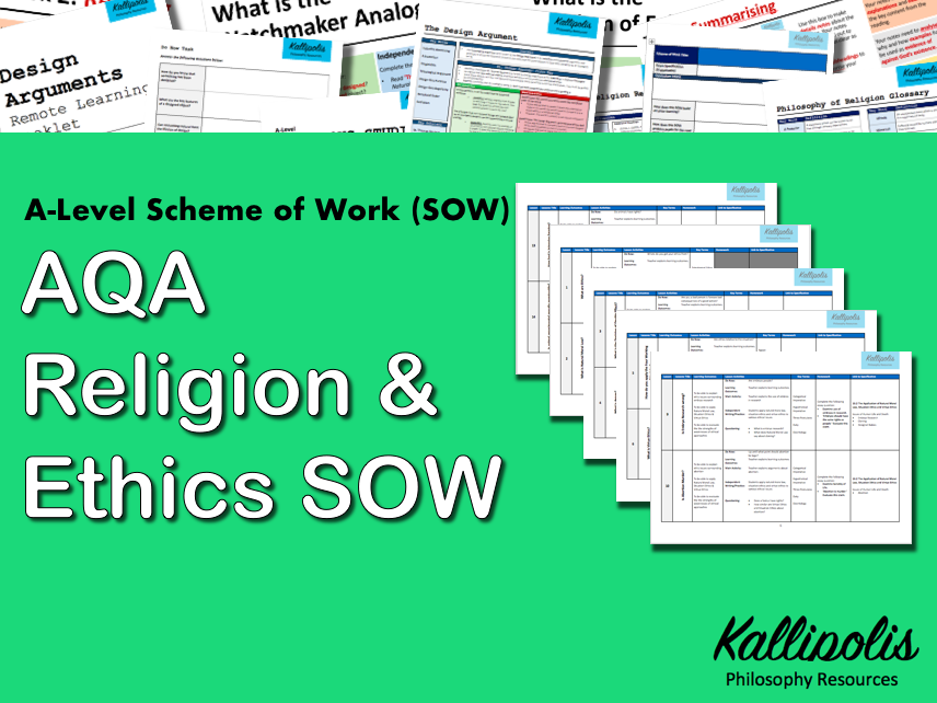 AQA KS5 Religious Studies: Unit 1 Religion & Ethics - Scheme of Work (SOW)