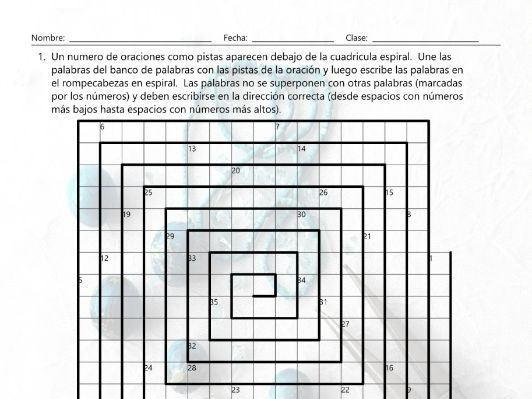 Art Forms Word Spiral Spanish Worksheet