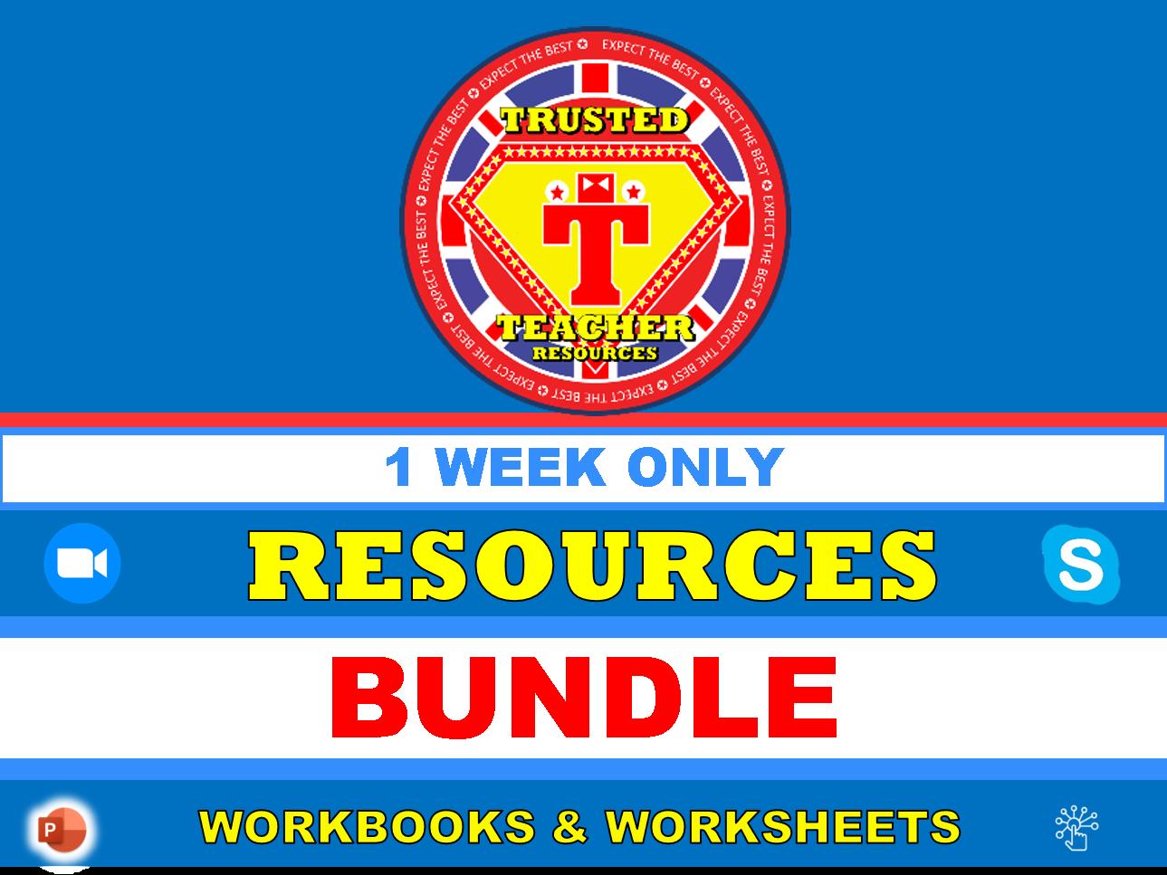 1 WEEK ONLY Workbooks & Worksheets Resource Bundle