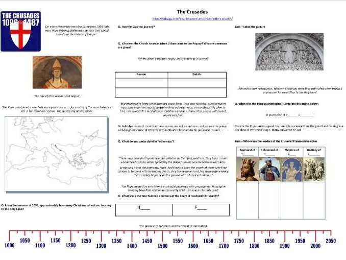 The Crusades -Ep1- Holy War - Worksheet to support the BBC TV Documentary with Thomas Asbridge