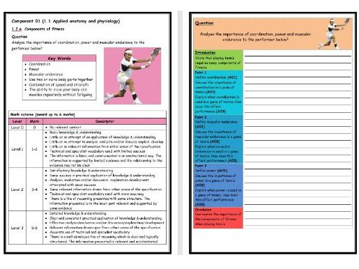 GCSE PE - OCR (9-1) - Structure Strip - Types of Fitness 2 - Extended Question Worksheet