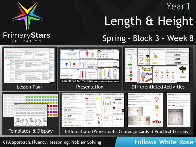 YEAR 1 - Measurement Length and Height - White Rose - WEEK 8 - Block 3 - Spring- Differentiated Pack