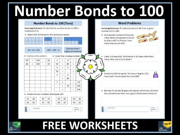 Addition and Subtraction : Number Bonds to 100 and Word Problems FREE  Worksheets