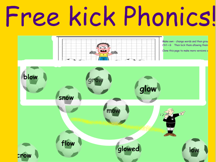 Fun phonics football shoot activity plus find the bear cup game KS1