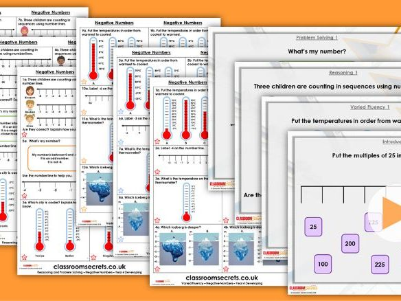 Year 4 Negative Numbers Autumn Block 1 Step 13 Maths Lesson Pack