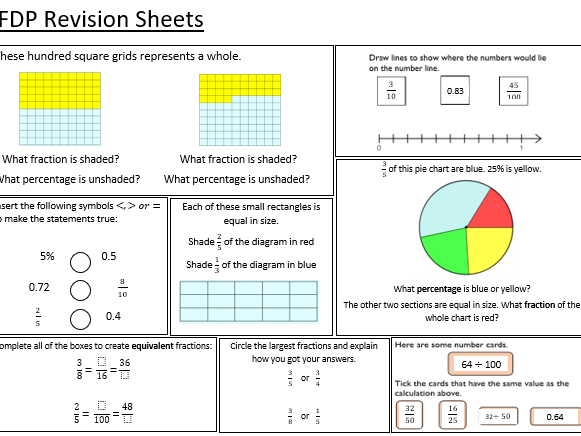 Year 7 White Rose Revision Sheets - Place Value and Proportion