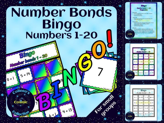 Number Bonds Bingo for numbers 1-20 for Small Groups