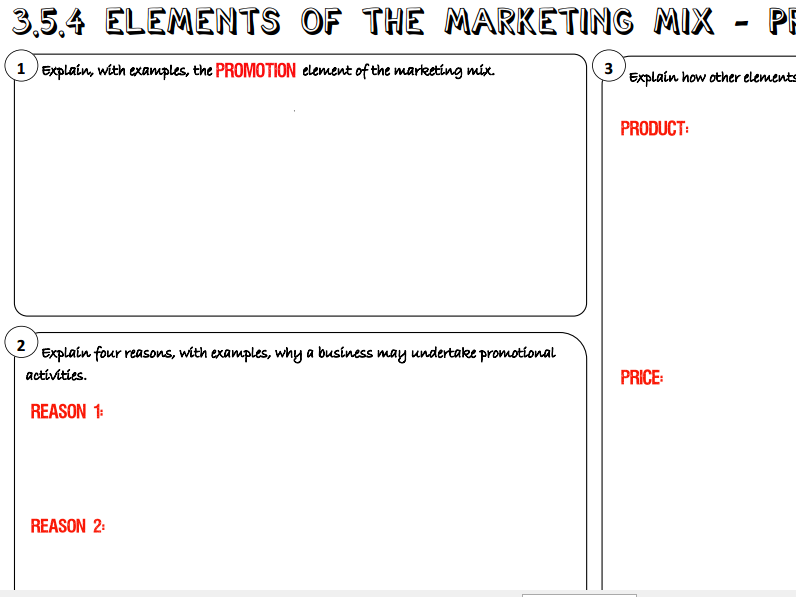 AQA GCSE Business (9-1) 3.5.4 Elements of the Marketing Mix - Promotion AND Place Learning Mat