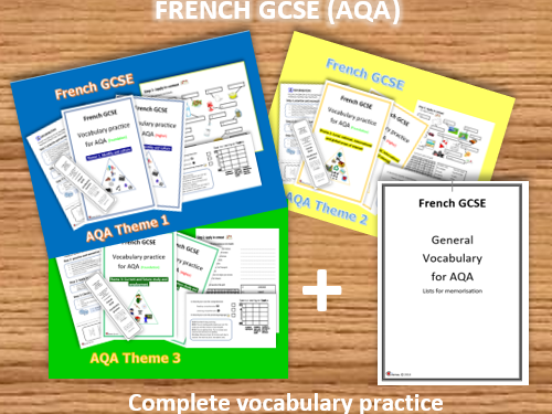 FRENCH GCSE- COMPLETE VOCABULARY PRACTICE FOR AQA (Foundation +Higher)