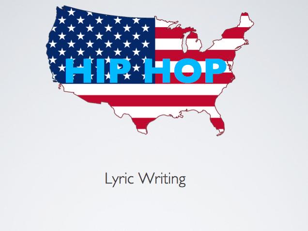 KS3 MUSIC HIP HOP LYRIC WRITING SLIDESHOW AND WORKSHEET 5 ELEMENTS OF HIP HOP *mac users only*