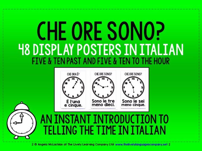 ITALIAN TELLING THE TIME - 48 DISPLAY POSTERS / FLASHCARDS (2)